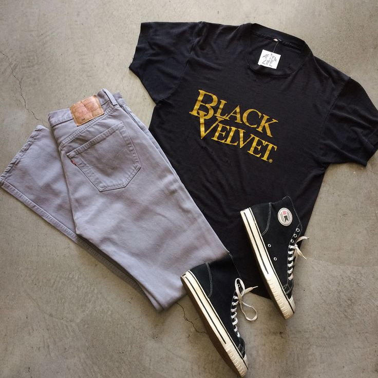 """Super thin Black Velvet Whiskey t-shirt, size M measures 21"""" pit to pit 28"""" long, $45+$8 domestic shipping. Grey Levi's 501 made in USA, size 32/36, $45+$10 domestic shipping. 60s ssK hi tops, men's size 10, $95+$10 domestic shipping. Call 415-796-2398 to purchase or PayPal afterlifeboutique@gmail.com and reference item in post."""