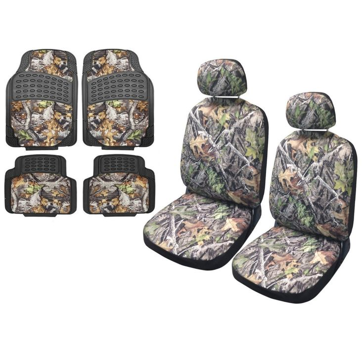 Unique Camo Seat Cover Row Forest (Green) Gray 4pc Rubber Mats Jeep Liberty Low Back (Color)