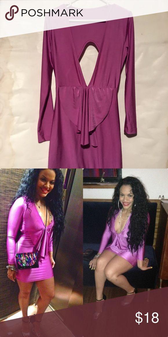 Purple bodycon dress Purple pink color dress size large stretchy Dresses Long Sleeve
