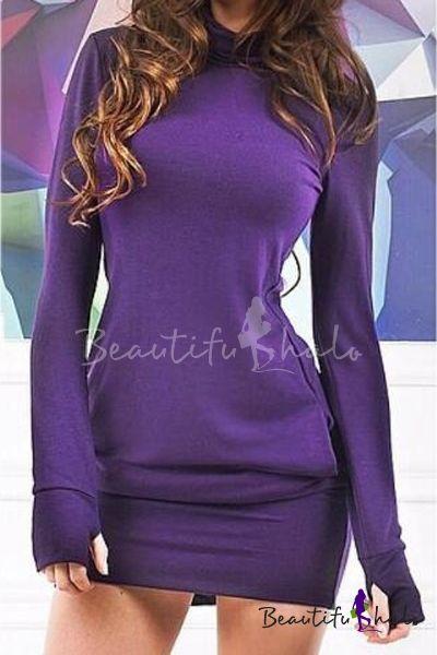 Fashion Long Sleeve Round Neck Plain Sweatshirt Mini Bodycon Dress with Pockets