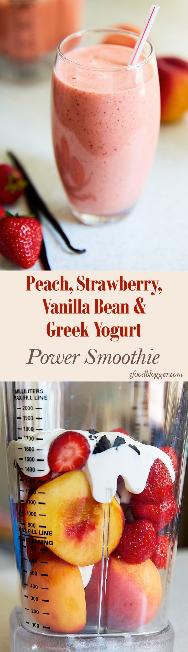 Delicious power Peach Smoothie Recipes. Peach, Strawberry, Vanilla Bean and Greek Yogurt, and more. Perfect for breakfast.
