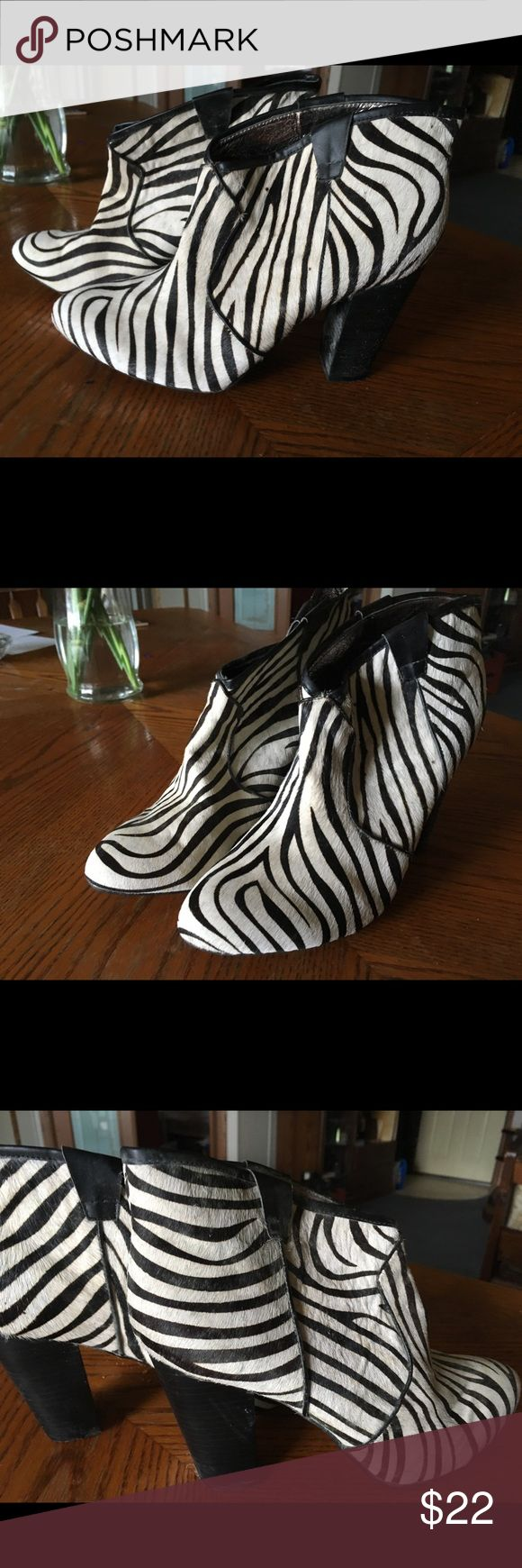 Deena & Ozzy zebra booties, size 10 ( UO) Really cute zebra print calfskin booties from Urban Outfitters. Size 10. Perfect condition!  These were worn once for a fashion shoot. I no longer have the box. Deena & Oozzy Shoes Ankle Boots & Booties