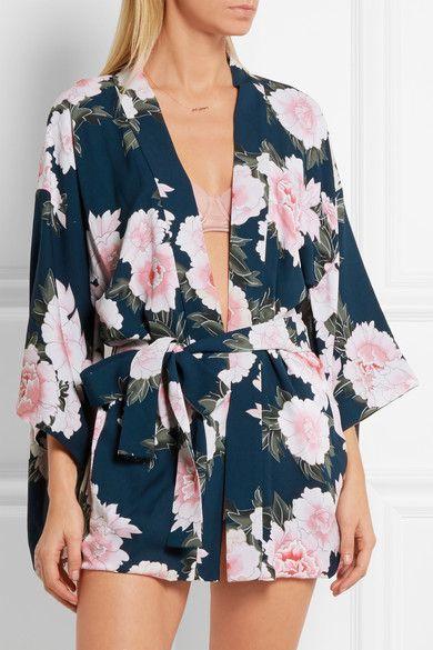Fleur Du Mal   Robe de chambre en crêpe de soie à imprimé fleuri Haori   NET-A-PORTER.COM