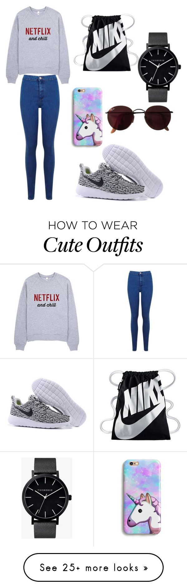 """""""My First Polyvore Outfit"""" by samsonovas on Polyvore featuring Miss Selfridge, NIKE, Ray-Ban and The Horse"""