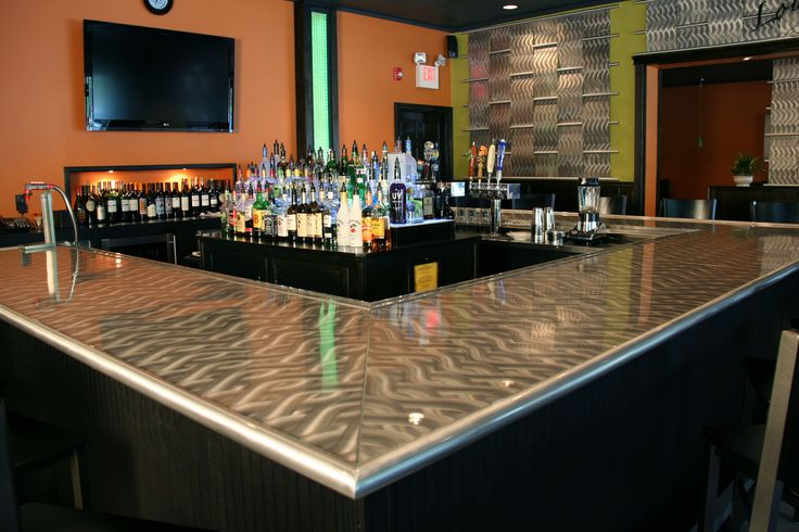 Aluminum bar top and rails with epoxy coating at eighty