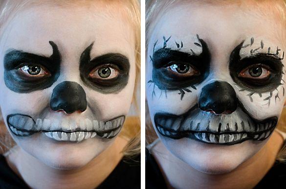 Gruselgesichter #schminken, z. B. einen Totenkopf #Kindergeburtstag. Die ganze Schminkanleitung gibt's hier: http://magazin.sofatutor.com/eltern/2015/10/16/halloween-make-up-schminktipps-fuer-hexe-totenkopf-und-vampir/