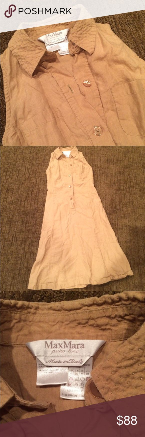 MaxMara designer tan linen safari dress Classic chic tan button down linen safari dress from Max Mara. Purchased in Max Mara store in Sydney a while ago for over $400 but only worn a few times. Too small for me now (would best fit XS and an A or B cup). Collar, pockets, looks great with platform sandals or white pumps. Has been in storage and needs a steam iron but otherwise in perfect condition. Made in Italy. Club Monaco for exposure only. Club Monaco Dresses Midi