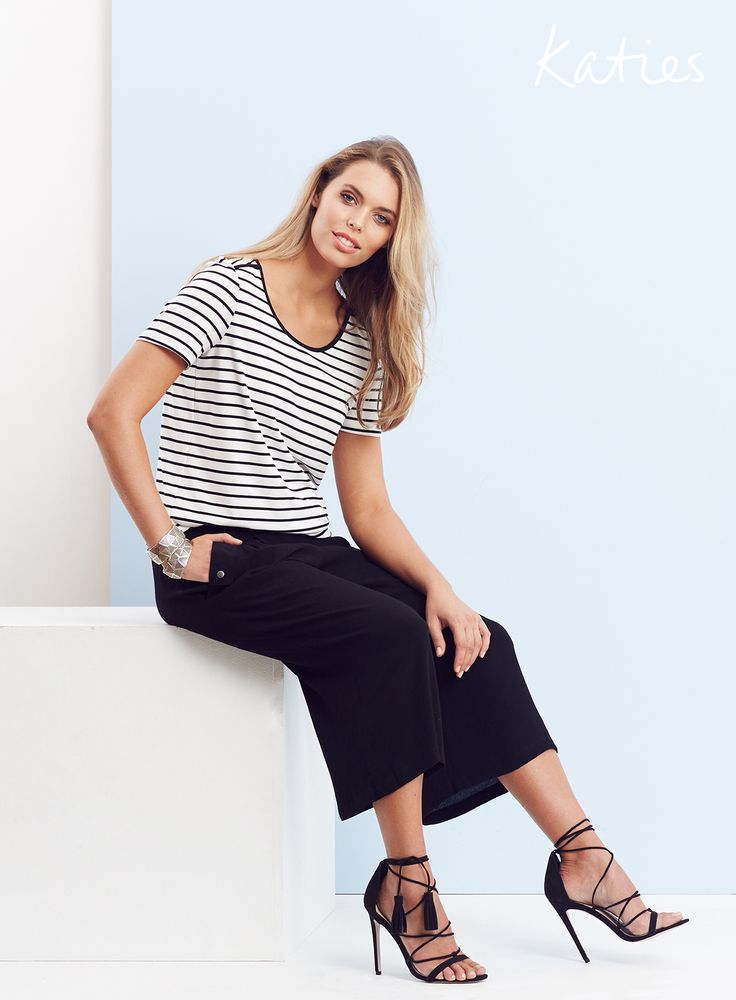 NEW ARRIVALS / Stay cool and make a statement with a chic stripe tee. Dress it up with this seasons must-have culottes for instant elegance.