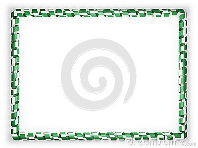 Frame and border of ribbon with the Nigeria flag. 3d illustration.