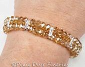 Nuziale di cristallo braccialetto, Champagne cristallo Swarovski due Strand nuziale Bracciale, bracciale di nozze, nozze gioielli - Aveta WB0110