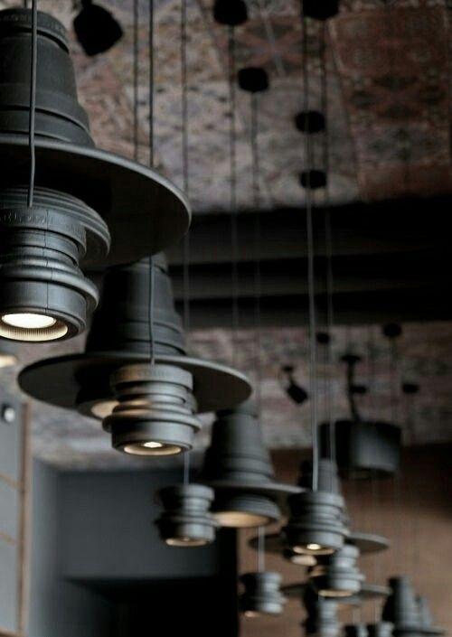 Lighting design, black pendant