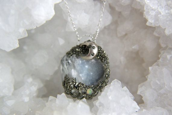 Crystal geode fairy cave necklace, sterling silver moon opal quartz herkimer diamond pyrite pendant