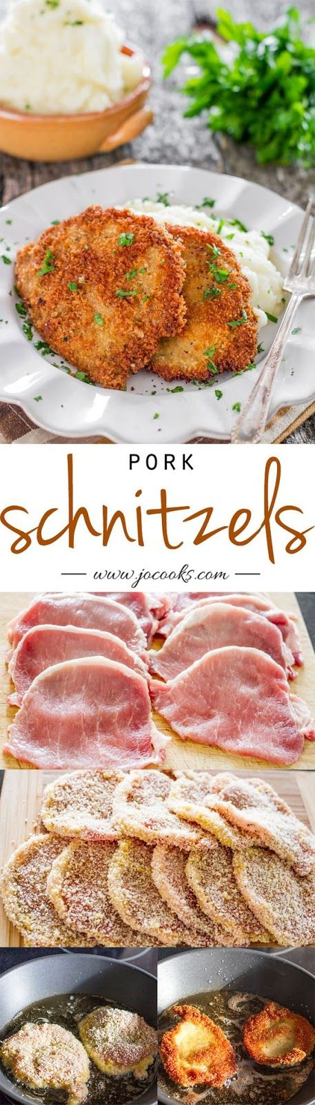 Pork Schnitzels   My German girlfriend taught me how to prepare these forty years ago.  This dish is always requested whenever family visits.  I do use Italian bread crumbs instead of Panko or regular.