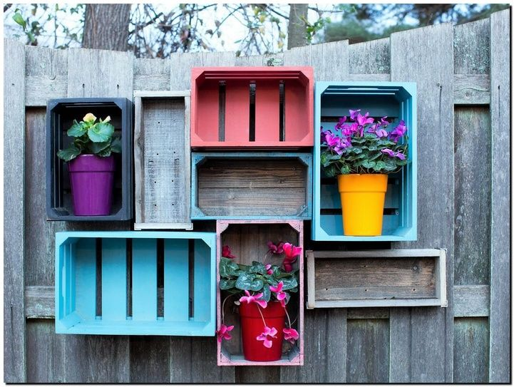 Decorating your patio with these wooden crates is another creative function they can serve. Clean the crates and paint them with bright colors. Nail them on the patio wall and place your favorite and colorful planters. You will surprised with the unusual and lively impact you will get.