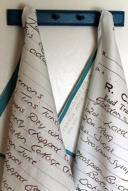 Handwritten recipe tea towels