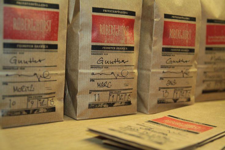 frische Kaffeebohnen in Robert & Horst Verpackung