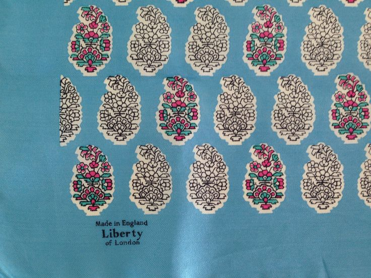 DELIGHTFUL VTG LIBERTY OF LONDON FLORAL BLUE PINK WHITE SILK HANDKERCHIEF #Liberty