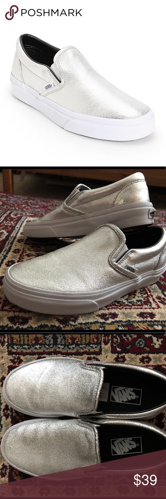 Metallic Silver Slip-On Vans! Cute and convenient slip-on Vans for sale! They were purchased from Nordstrom and worn only twice but are too big for me. No trades. Open to offers! Vans Shoes Sneakers