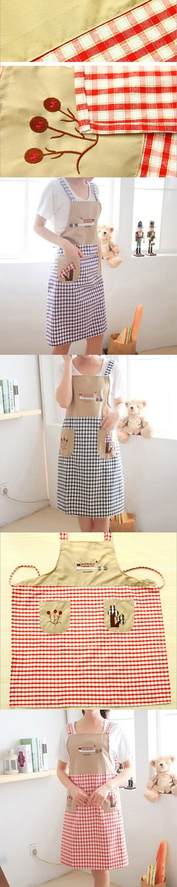 Catton Linen Embroidery Aprons Adjustable Sleeveless Cooking Work Aprons Kitchen Apron Schort Chef Apron