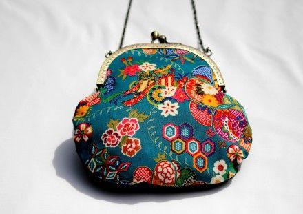 Petit sac en tissu japonais turquoise et motifs : Sacs à main par bleu-liseron