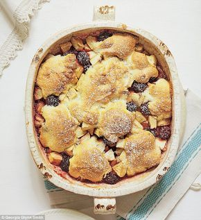 Mary Berry Foolproof Cooking, part one: Apple and blackberry cobbler   Daily Mail Online