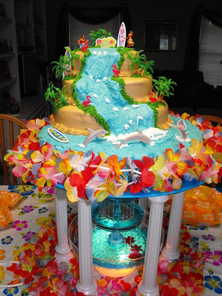 Luau Party This is a 4 single layer cake white and funfetti for my daughters 10th Bday. She wanted the fountain for this one. All iced with...