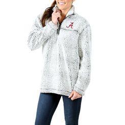 Alabama Crimson Tide Women's Sherpa Super Soft Quarter-Zip Pullover Jacket - Gray