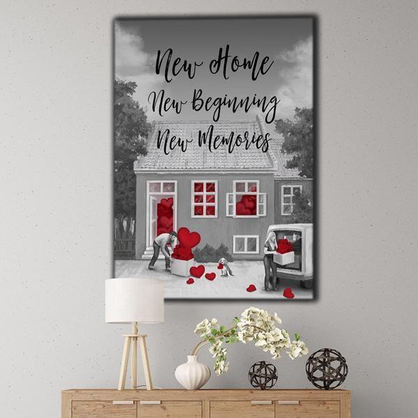 New Home New Beginning New Memories Premium Canvas Family Wall Art Canvas Wall Decor Rustic Wall Art