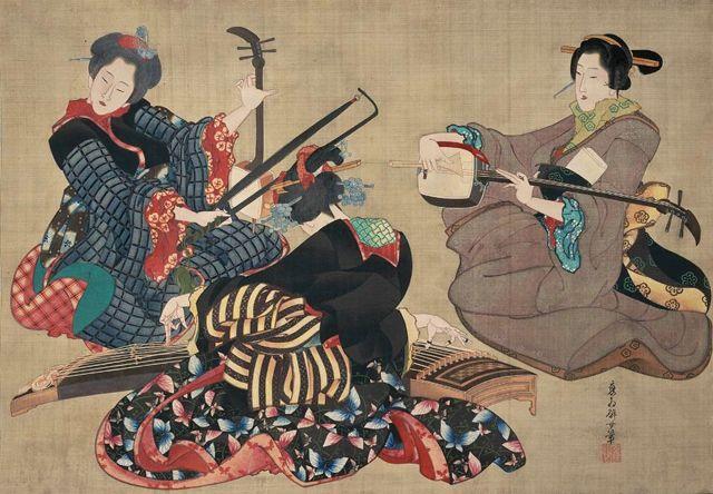 葛飾応為(Katsushika Ohi) 三曲合奏図