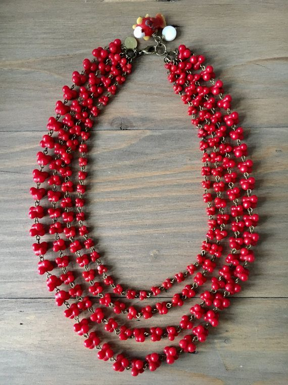 Red coral reef  4 strands necklace  red coral by RafaPeinador