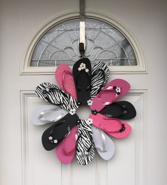 Flip Flop Zebra Wreath Beach Pool Patio Lake by PoppiesBlossom #zebra #wreath #handmade #crafts #flipflops #etsy