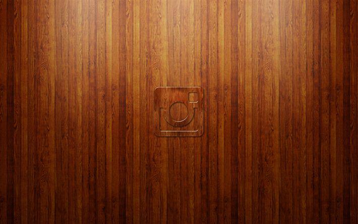 Herunterladen hintergrundbild instagram, holz-hintergrund, insta, logo, kreativ