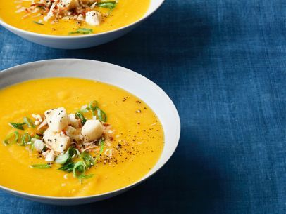 Roasted Butternut Squash Soup and Curry Condiments...it's delish.eoso. For more protein..I added shredded chicken :)