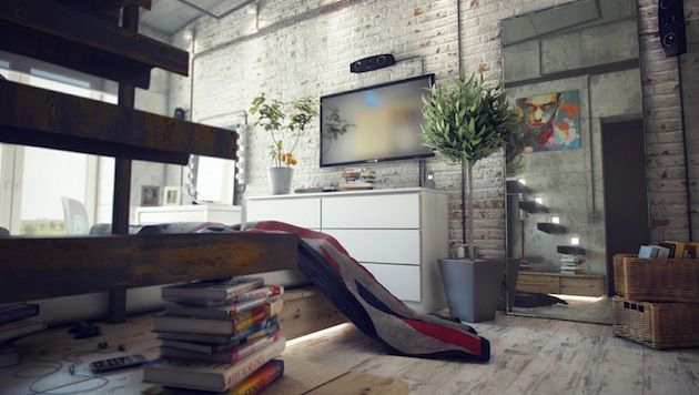 """This awesome bachelor pad designed by Maxim Zhukov.The place is packed with cool industrial decor, great use of concrete, wood, metal, and exposed brick walls. Also, some giant casters and road signs add to the charm and character of the place. Another great detail is the """"floating"""" work space above the bed accessed by cantilevered [...]"""