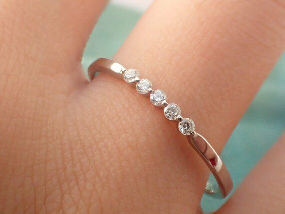 5 Years Anniversary Gift For Wife Diamond Wedding Band Ring Real