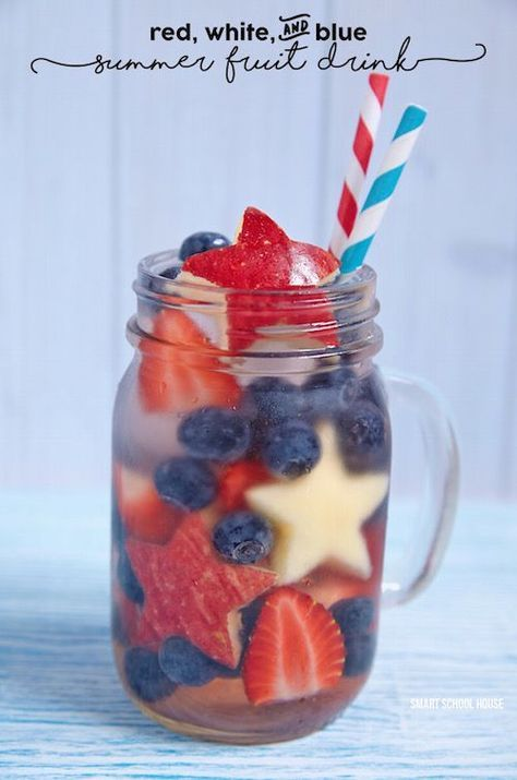 Kids LOVE this! It's a patriotic summer fruit drink. Check this one out for sure. This recipe idea is fun for a summer party. I would add some ice cream!