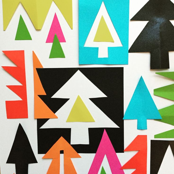 Matisse inspired modern art Christmas tree shapes using coloured paper. Great for collage, wall art and card making for kids