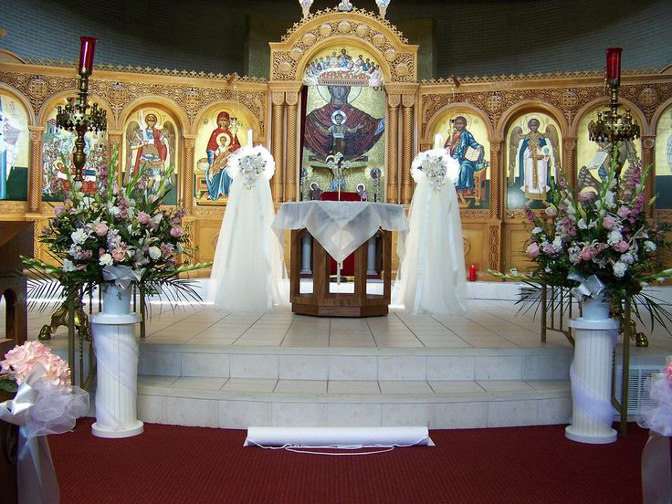 Wedding pulpit flowers altar view at the assumption for Altar wedding decoration