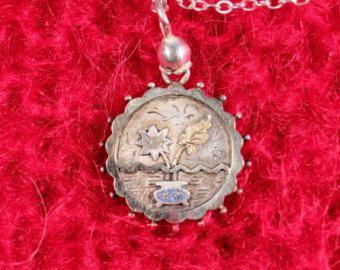 Antieke hanger ketting Zilveren hanger ketting Floral hanger kleine hanger Victoriaanse Frans sieraden gestempelde hanger ketting