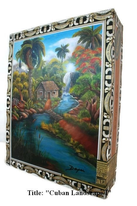 """Price Down! Cigar Box with artwork"""" Mi Tierra"""". Cuban Collection. Art By Daysi"""