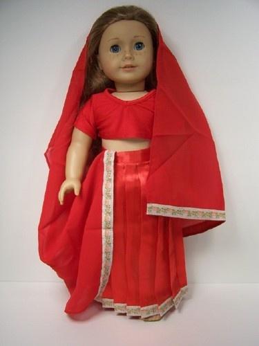 Halloween Costume Indiana Sari Skirt Veil Top Doll Clothes 4 AMERICAN GIRL♥