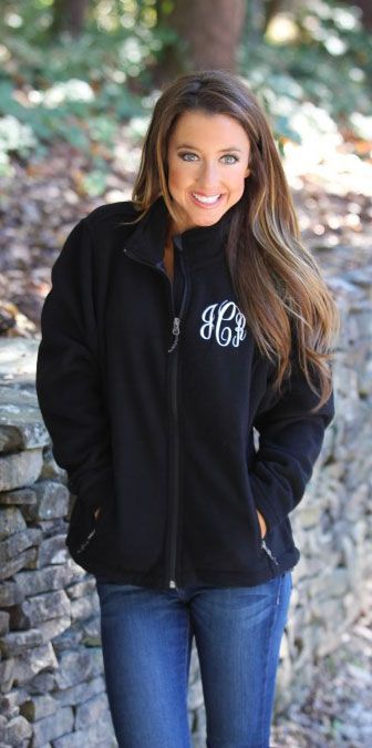 Monogrammed Fleece Jacket | Marleylilly.com I want one of these with his last initial once he proposes.