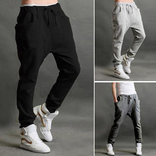 Pas cher Casual Pantalons Hommes Sports Jogging danse Baggy Trousers Slim Harem Pantalon ceinture Livraison gratuite