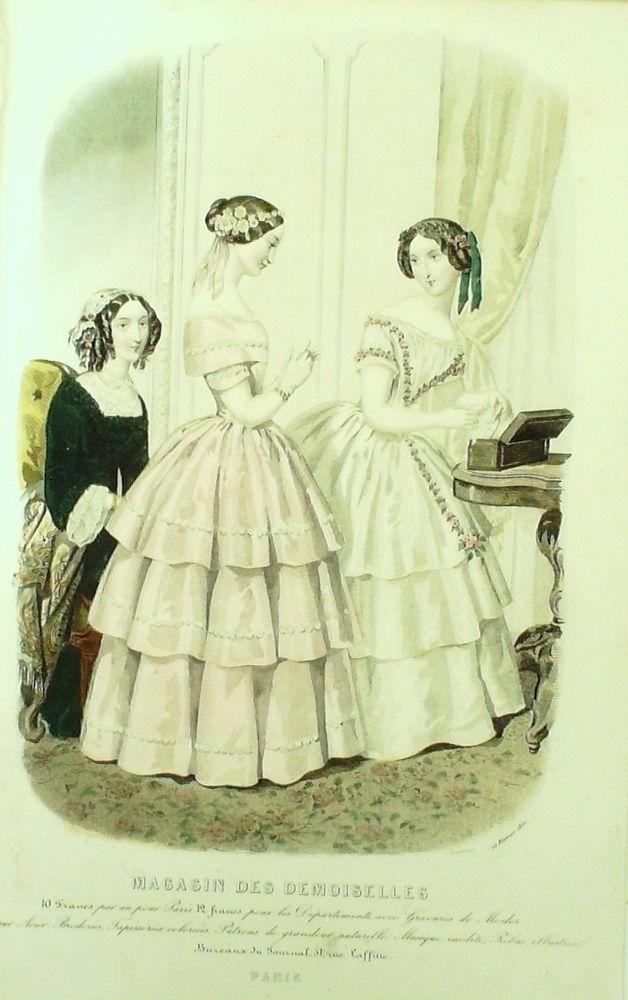 GRAVURE de MODE AUTHENTIQUE-M154-MAGASIN DEMOISELLES-ROBE DE COUR-1853