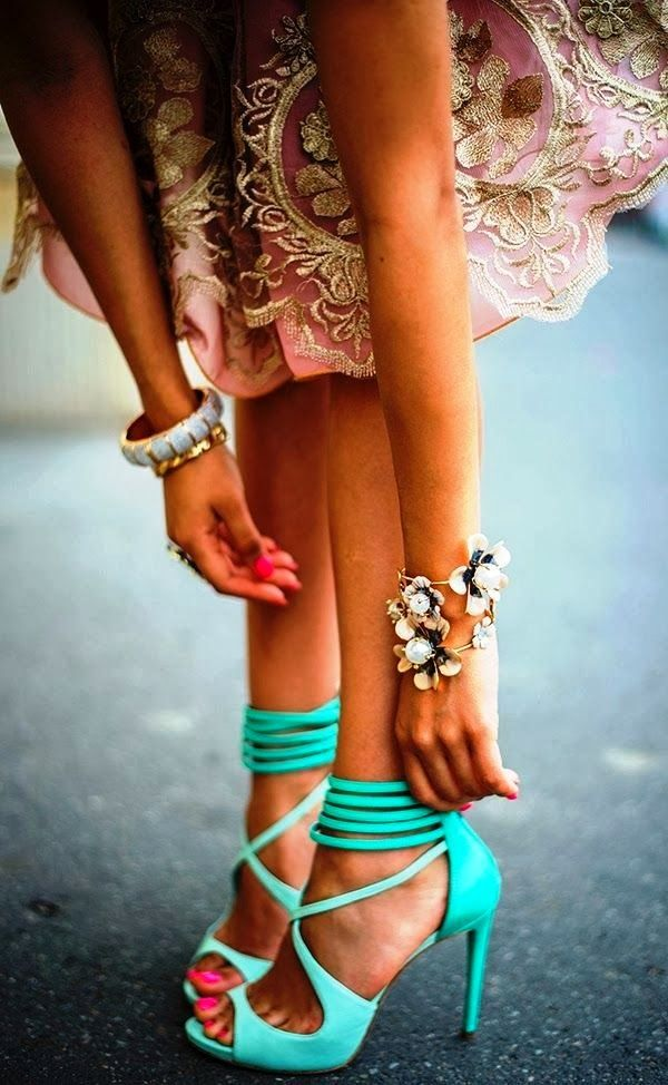 Cute Mint Ankle Strap High Heels