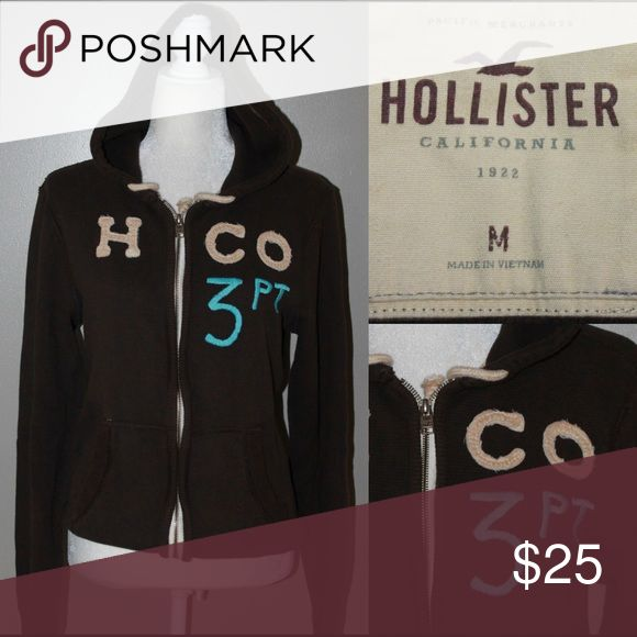 HOLLISTER Brown Thermal Hoodie with logo Zipper front brown Thermal hoodie with embroidered logo fabric letters Hollister Tops Sweatshirts & Hoodies