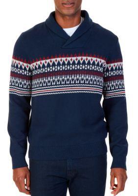 Nautica Men's Fair Isle Shawl Collar Sweater - True Navy - 2Xl