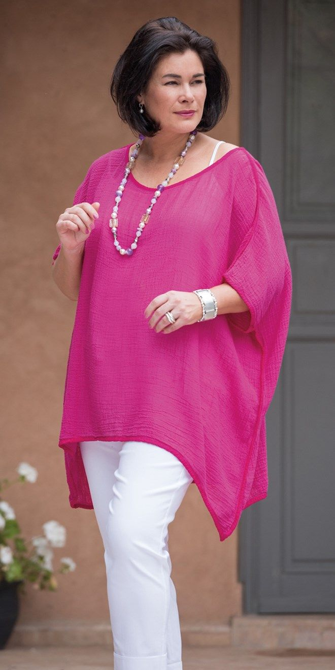 Join Clothes fuchsia loose crinkle top