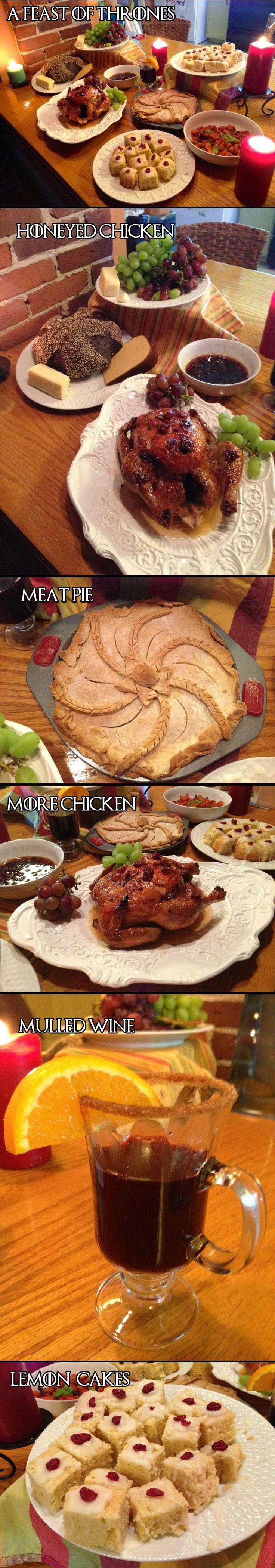 MENU IDEAS: A Feast of Thrones.  Must have chicken, meat pies, mulled wine and lemon cakes. Medieval Halloween Game of Thrones Gathering Party Theme & Decorating Ideas