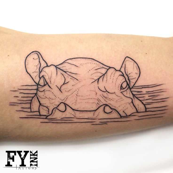 Nice Grey Ink Hippo Head Half In Water Tattoo